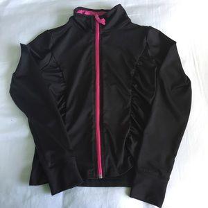 Jackets & Coats - Girls Pink and Black Zip-Up Track Sweatshirt